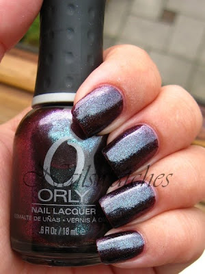 orly cosmic FX cosmix collection for fall winter 2010 glass flecked foil like nailswatches galaxy girl urban decay bruised dupe swatch nails plum blue glass flecked