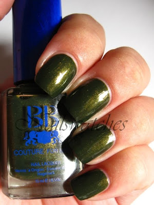 bb couture grenade nail polish for men green smokey murky mossy shimmer dark nail polish nailswatches