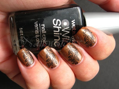 china glaze golden spurs brown gold shimmer fall rodeo diva collection 2009 nail polish nailswatches bundle monster bundlemonster imageplates fauxnad konadicure stamping wet n wild black creme