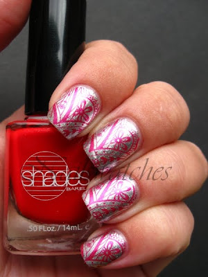 orly shine barielle pin up red shimmer silver foil foil fx collection 2010 all lacquered up collection 2009 stamping konadicure imageplate m60 konad