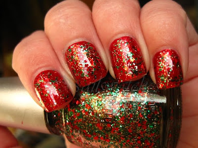 china glaze tis the season to be naughty and nice party hearty glitter nail polish christmas over opi smitten with mittens red nailswatches
