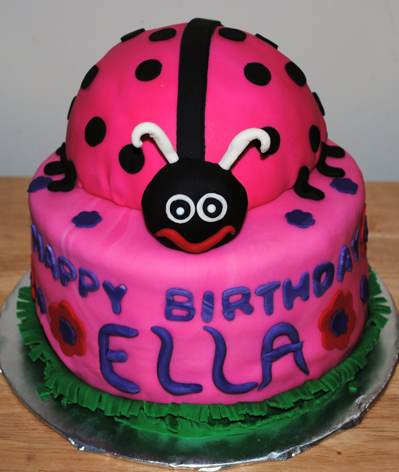Ellas birthday she had a ladybug party. The lady bug was yellow cake ...