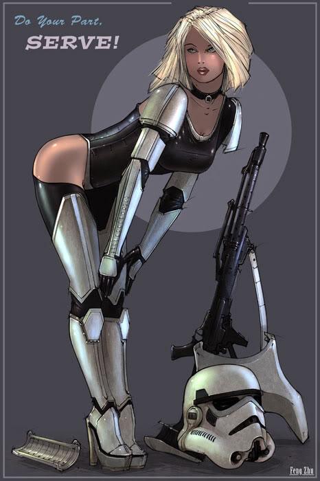sensuales chicas soldado, sexy star wars