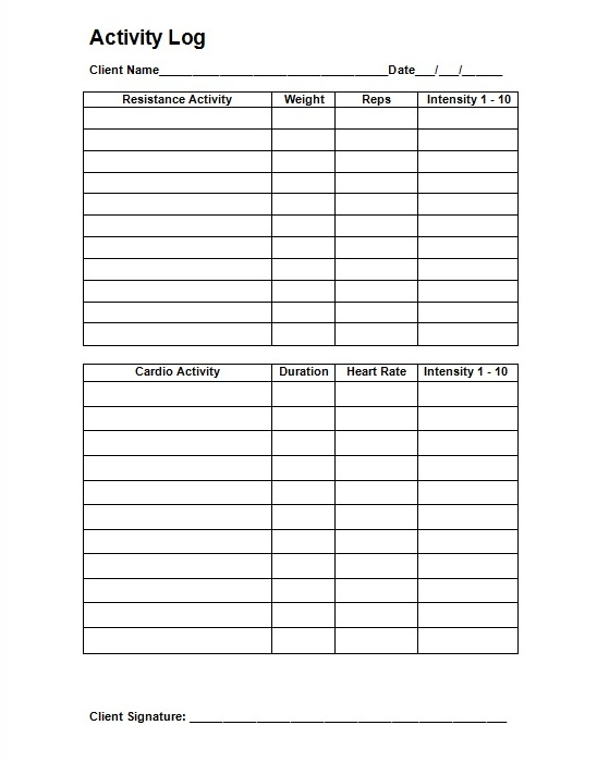 Personal workout log template for Personal trainer workout template