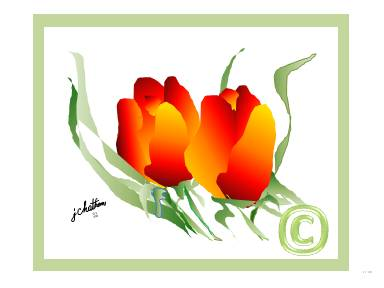 """Tulips"" with Green by J. Chatham"