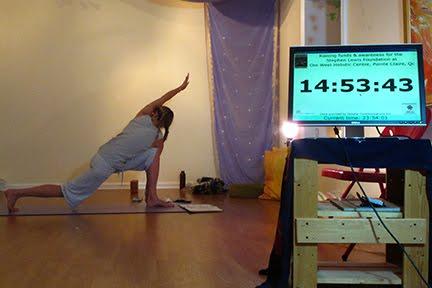 Yasmin during her yoga marathon