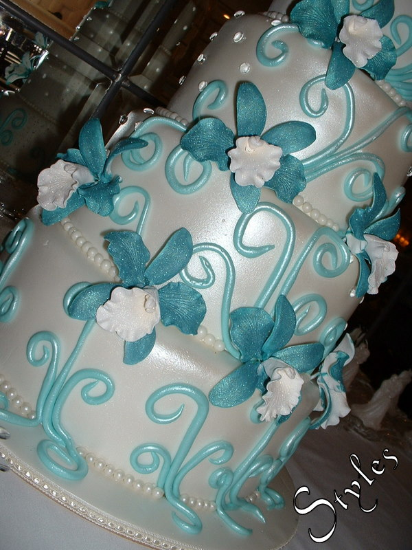 Wedding Cake Turquoise Orchids