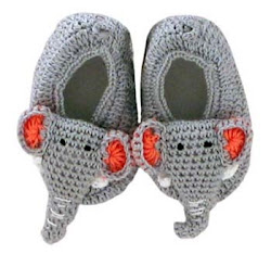 Croched elephant slippers - maker: unknown