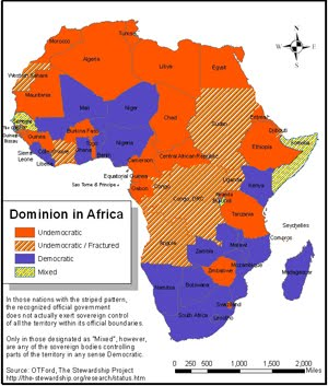 African Politics ~ Map of Despotism-Democracy