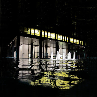 Mies van der Rohe Seagram Building Manhattan New York reflected in water fountain pool at night