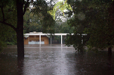 Farnsworth House flooded flood water Mies Plano Landmarks Illinois