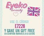 Use el código E7228 y gane un gift free en las comprar por mas de 10 libras en la web de Eyeko!