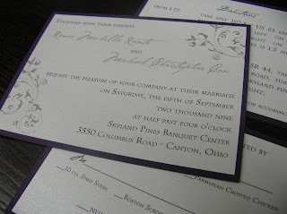 custom wedding invitation: purple (grape) and silver flat panel invitation