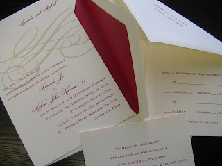catalog wedding invitation: dark red and ecru invitation with envelope liner