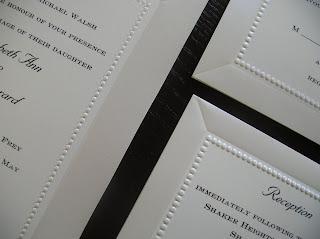 catalog wedding invitation: Ecru with classy dot border