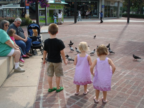 chasing pigeons at the harbor...