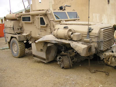 The Cougar after an IED hit