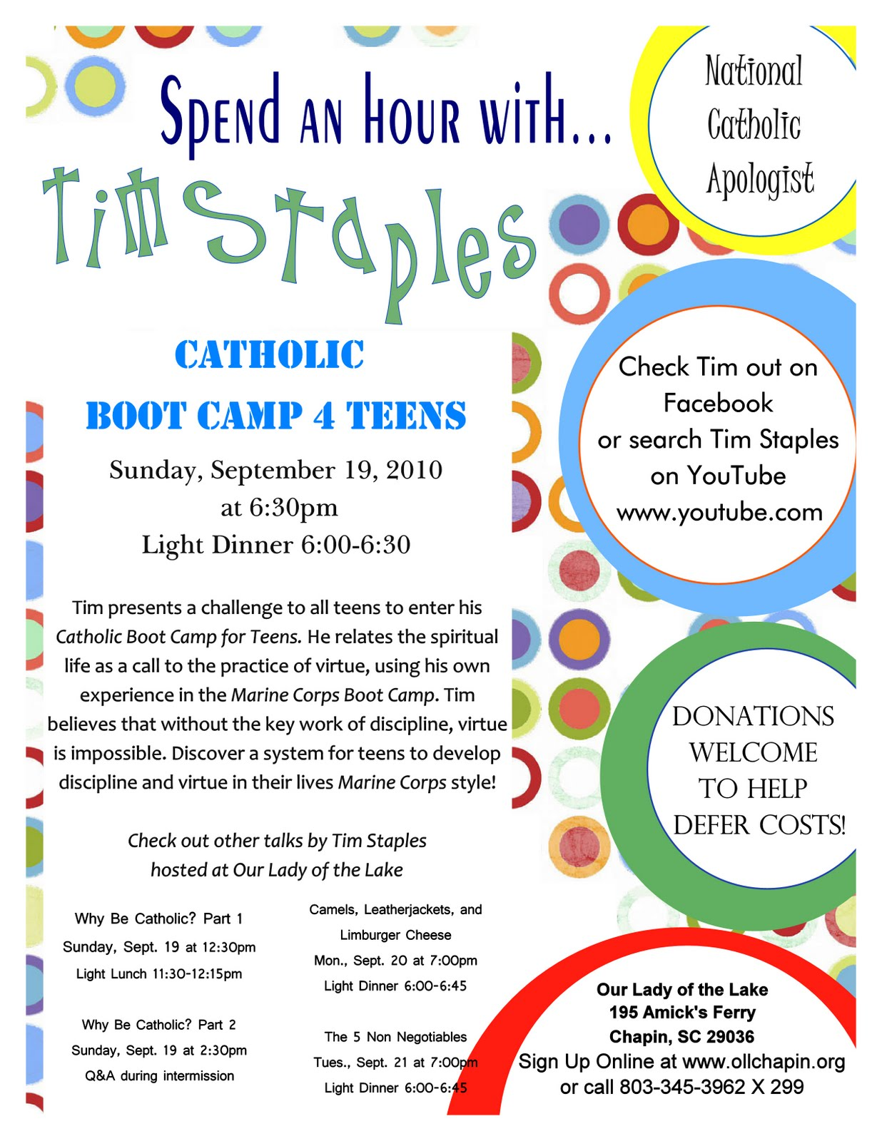 Our Lady of the Lake Youth Ministry: Tim Staples: Catholic ...