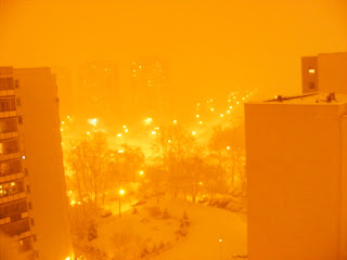 winter blizzard Poland warsaw warszawa snow storm city night