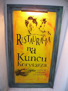 Sign for the restaurant in Opera na Zamku