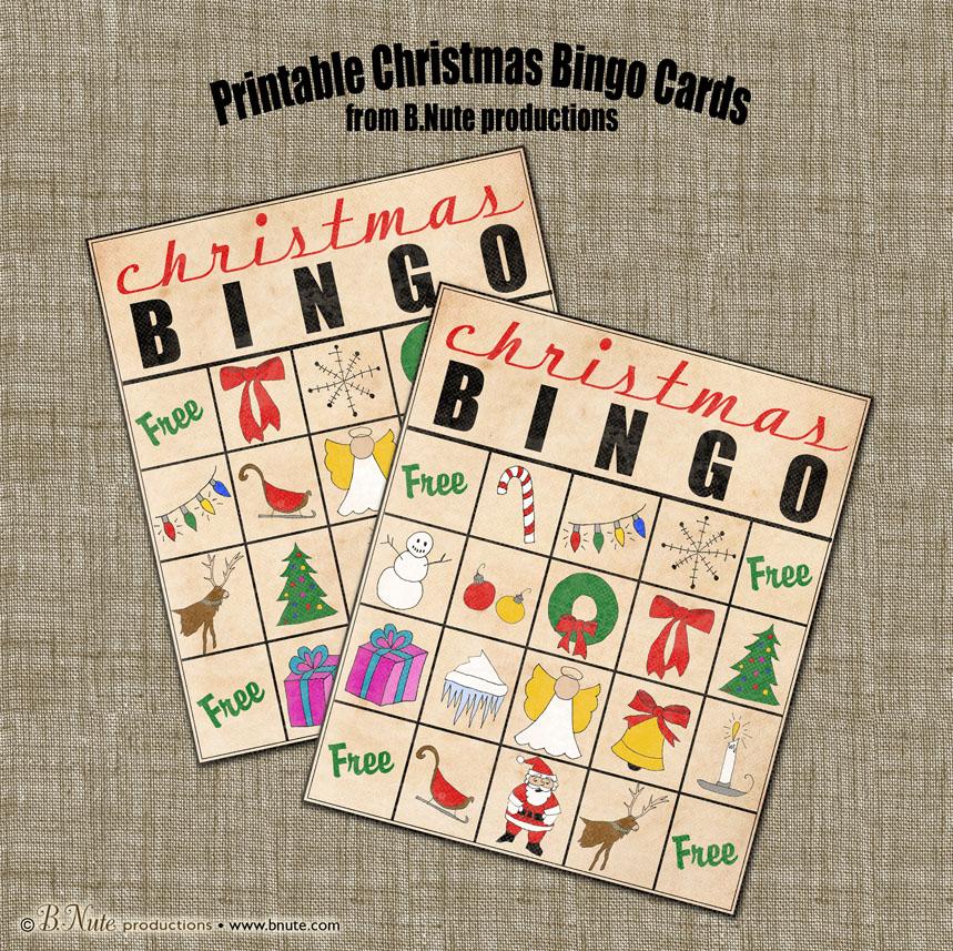 bnute productions: Free Printable Christmas Bingo Cards