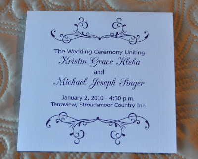 Layout Mary Wedding Program Ink Color Navy Blue Paper White Linen Cover