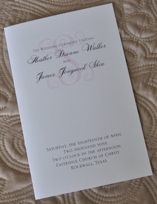 Layout Cassidy Wedding Program Ink Color Black Paper White Linen Cover