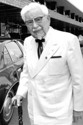 colonel sanders black and white picture