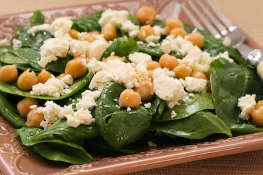 Spinach Salad with Garbanzos and Feta