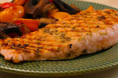 Original photo for Easy Recipe for Greek Salmon Cooked in a Grill Pan found on KalynsKitchen.com
