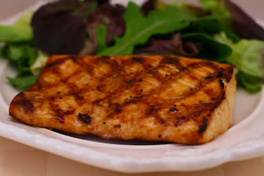 Soy-Grilled Mahi Mahi Recipe with Korean Dipping Sauce found on KalynsKitchen.com