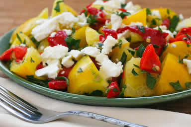 Yellow Tomato Salad with Roasted Red Peppers