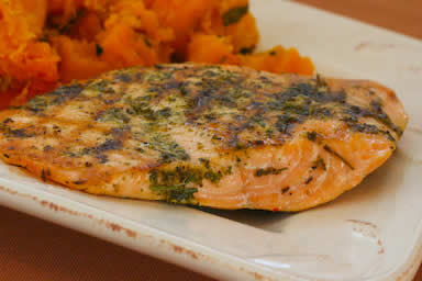 Herb Encrusted Grilled Salmon found on KalynsKitchen.com