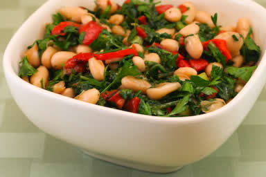 White Bean Salad with Red Pepper and Arugula