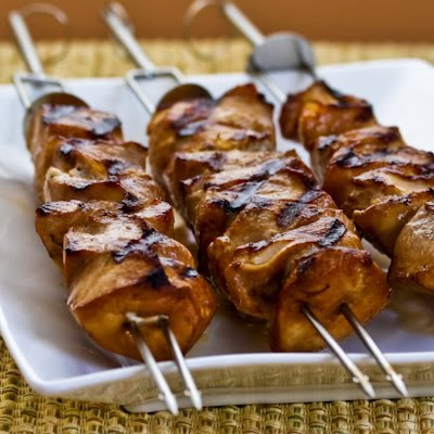 ... grilled chicken kabobs are marinated in a spicy mixture, then grilled