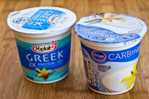 used a mixture of fat-free Greek yogurt and low-carb vanilla yogurt ...