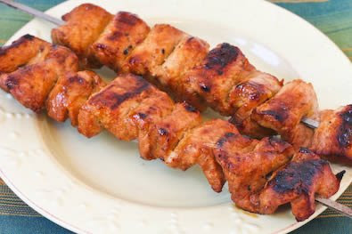 Chile Mustard Pork Kabobs Recipe found on KalynsKitchen.com