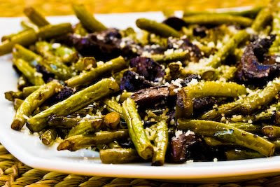 Roasted Green Beans with Mushrooms, Balsamic, and Parmesan, found on KalynsKitchen.com.