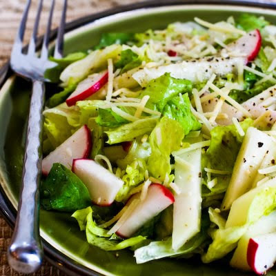 Wilted Escarole Salad with Kohlrabi, Radish, Lemon, and Parmesan