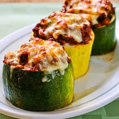 Meat, Tomato, and Mozzarella Stuffed Zucchini Cups
