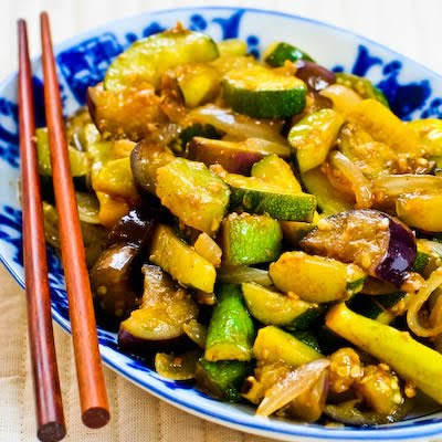 Garlic Lover's Vegetable Stir Fry with Eggplant, Zucchini, and Yellow Squash found on KalynsKitchen.com.