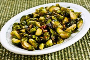 Recipe for Roasted Brussels Sprouts with Pecans (with or without Gorgonzola Cheese) found on KalynsKitchen.com