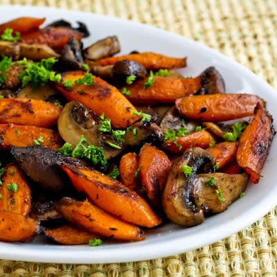 Roasted Carrots and Mushrooms with Thyme found on KalynsKitchen.com