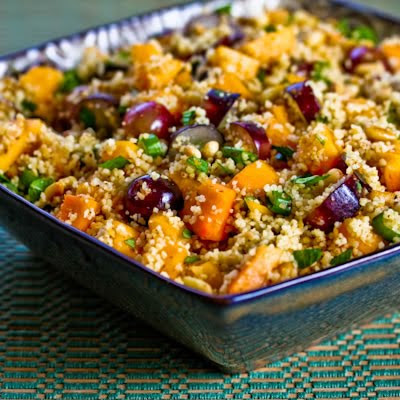 Whole Wheat Couscous Salad with Persimmon, Grapes, Green Onion, Mint, and Pine Nuts