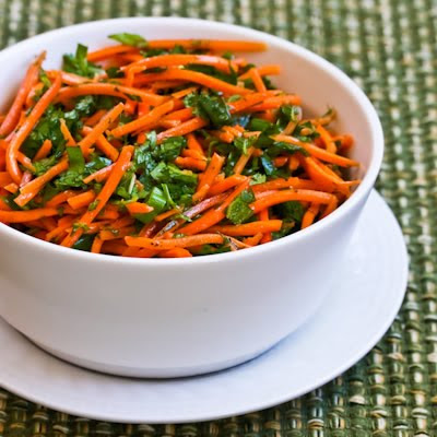 Spicy Shredded Carrot Salad with Mint, Cilantro, Green Onion, Lime, and Jalapeno found on KalynsKitchen.com