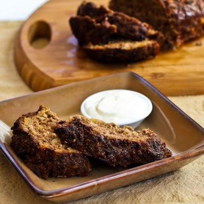 Horseradish Meatloaf with Caramelized Onions and Sour Cream-Horseradish Sauce found on KalynsKitchen.com