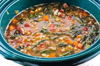 Crockpot (or Stovetop) Recipe for Double Lentil, Sausage, Brown Rice, and Spinach Soup found on KalynsKitchen.com