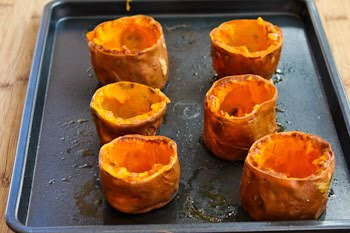 Twice-Baked Sweet Potato Cups with Sour Cream, Chipotle, and Lime found on KalynsKitchen.com