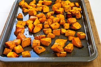 Recipe for Roasted Butternut Squash with Rosemary and Balsamic Vinegar found on KalynsKitchen.com