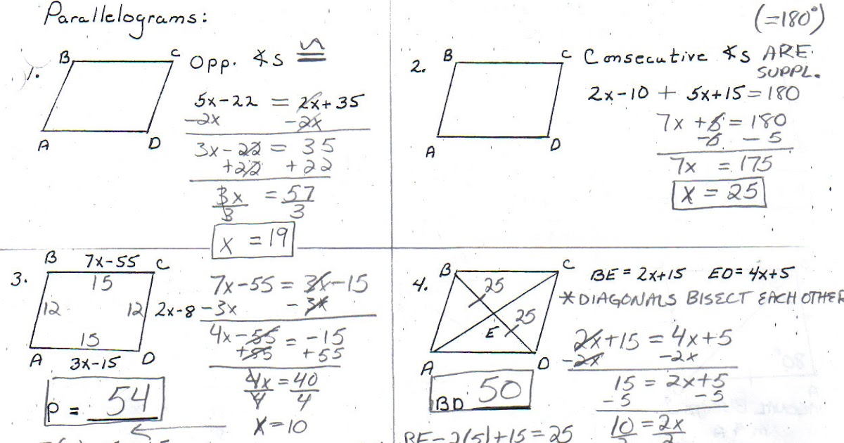 Hornell Math AB: Special Quadrilaterals Review Worksheet
